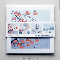 Winter Garden Greeting Cards pack of 4 blank illustrated cards