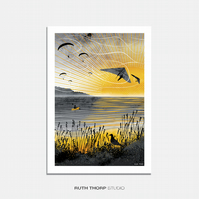 Sunset Flight Illustrated Art Print