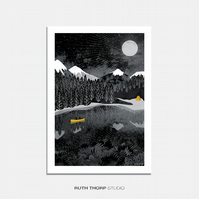 Night Paddle - A4 Illustrated Art Print