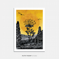 The Tallest Flower - A3 Illustrated Art Print