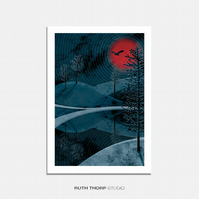 Midnight Sun Illustrated Art Print