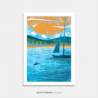 Wild Swimming Illustrated Art Print