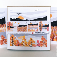 Autumn Pack of 4 Greeting Cards