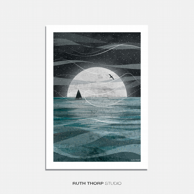 Sail on the Moon Illustrated Art Print
