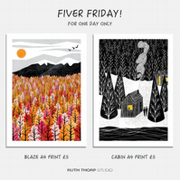 Fiver Friday Deal: Blaze and Cabin A4 Prints