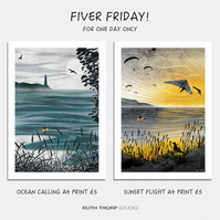 Fiver Friday Deal: Ocean Calling and Sunset Flight A4 Prints