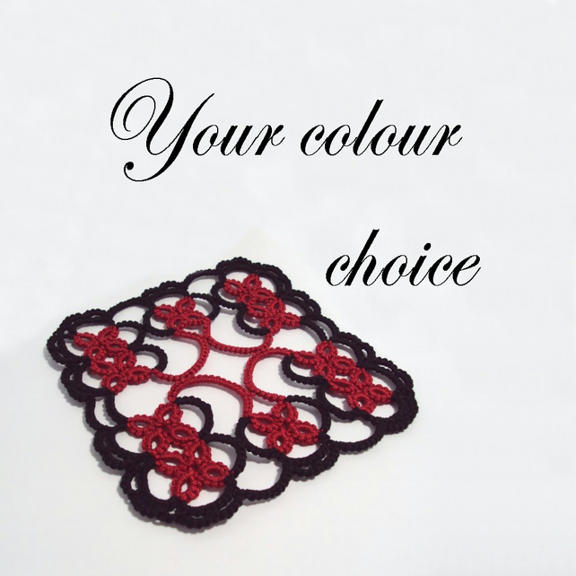 Tatted Lace Coasters - Your Colour Choice - Set of Four