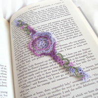 Lilac, Grape Rose Bookmark in Tatting