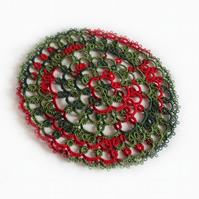 Christmas Red and Green Round Doily