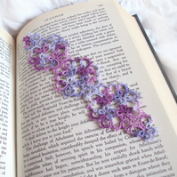Lilac, Grape Floral Butterfly Bookmark in Tatting