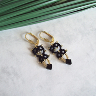 Black Gold Lace Dangle Earrings