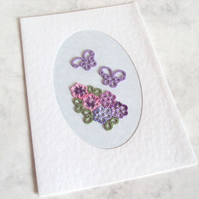Floral Tatted Handmade Greeting Card