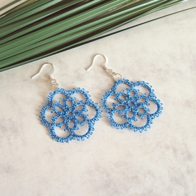 Multi Blue Lace Flower Earrings