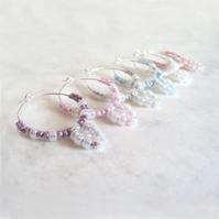 Set of Six Rococo Beaded Tatting Wine Glass Charms