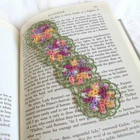 Floral Lace Bookmark in Tatting - Purple, Yellow, Peach, Green