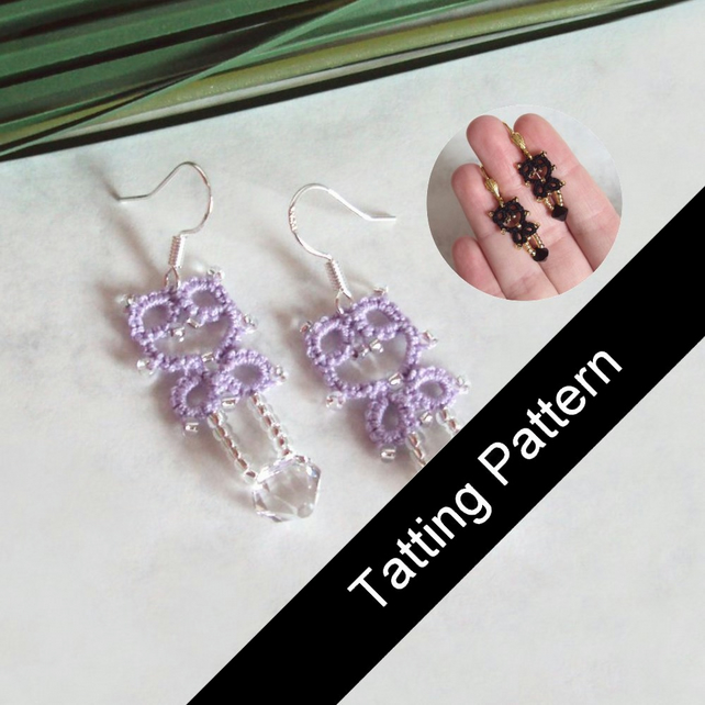 PDF Tatting Pattern - 'Lillian' Earrings - Intermediate