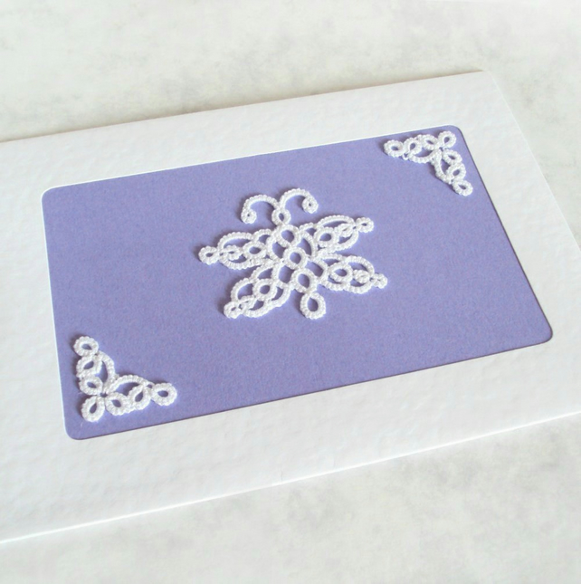 White Butterfly Greeting Card in Tatting