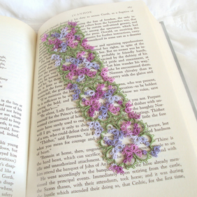 Intricate Bookmark in Tatting Lace - Lilac, Purple, Green