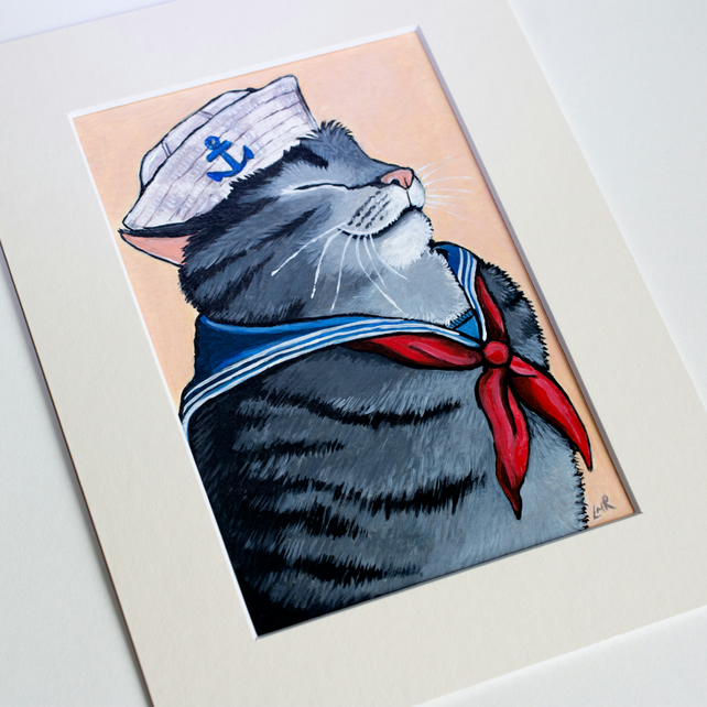 Sailor Cat - Original Painting of a Nautical Grey Tabby Cat