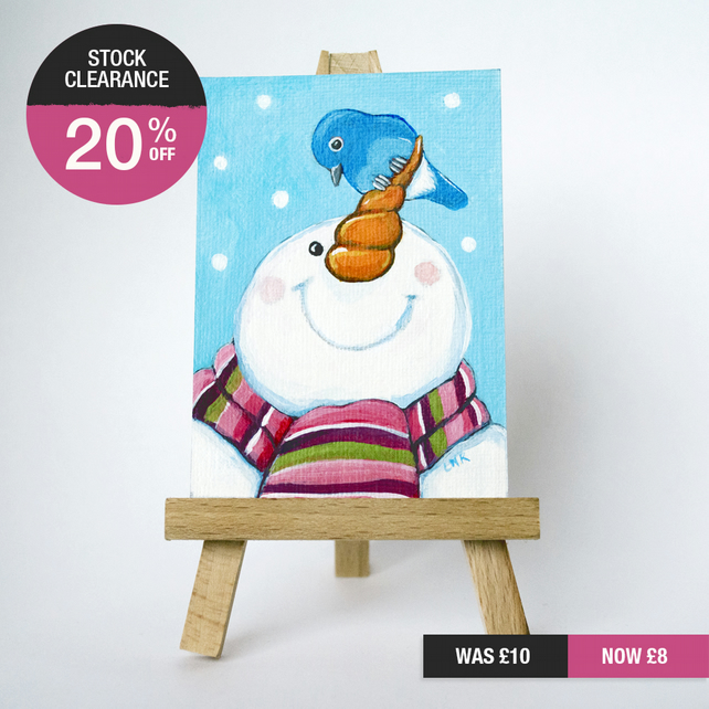 SALE - Original ACEO - Happy Snowman with Carrot Nose and Bluebird
