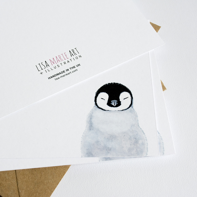 Cute Sleepy Penguin Chick Postcards - Pack of 6 with Envelopes