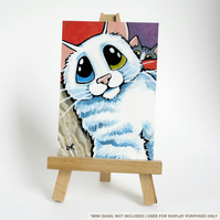 Original ACEO - Odd Eye White Cat Tabby Cat - Funny Selfie Photobomb