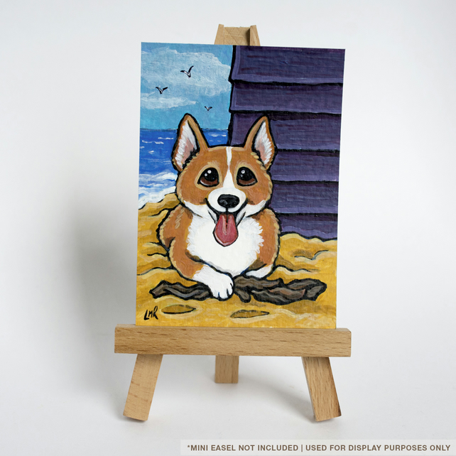 Original ACEO Corgi Beach Hut Seaside - Whimsical Dog Art Illustration