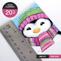 SALE - Original ACEO - Cute Penguin Wearing Striped Scarf & Hat