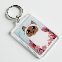Seal Point Birman Cat Keyring (large) - Whimsical Pet Art