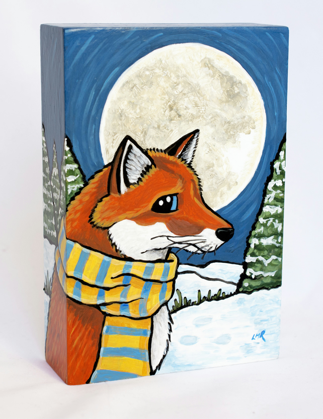 Fox in the Snow Shelf Sitter - Free Standing Original Art Block - Wood MDF