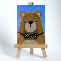 Original ACEO - Brown Bear wearing a Polka Dot Bow Tie