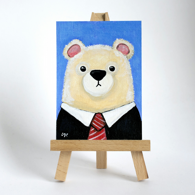 Original ACEO Art - Polar Bear wearing Black Suit and Tie