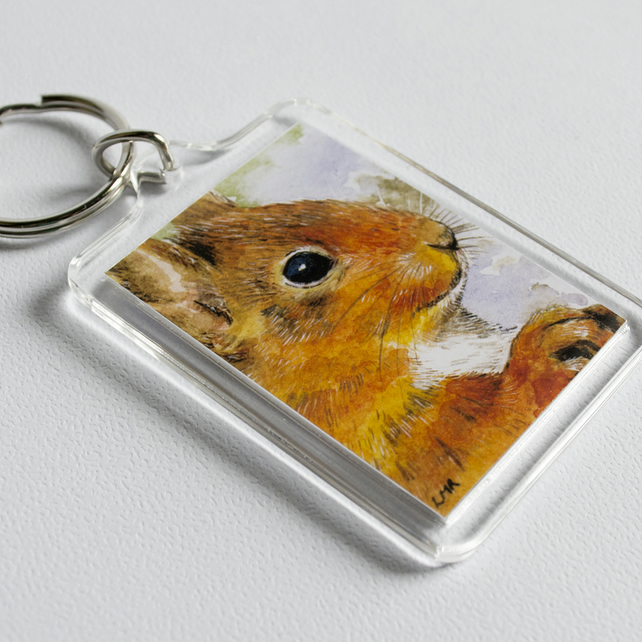 Red Squirrel Keyring (large) - British Wildlife Art Illustration