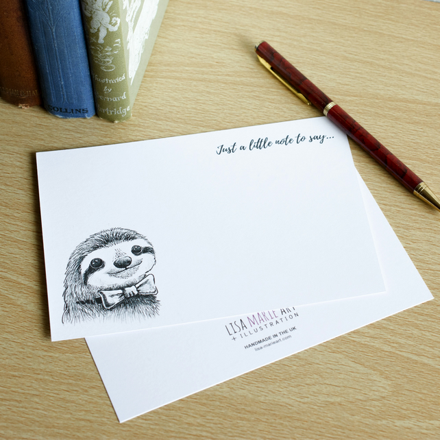 Dapper Sloth Handmade Flat Notecard Set - Pack of 4 with Envelopes