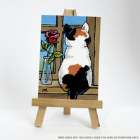 Original ACEO Painting - Calico Cat with Rose - Whimsical Cat Art