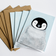 Penguin Chick Mini Note Cards - Set of 4 - Handmade