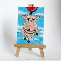 Original ACEO - Flying Pig with Red Balloon - Whimsical Animal Art