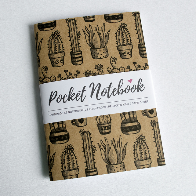 Cacti & Succulents - Handmade A6 Pocket Notebook