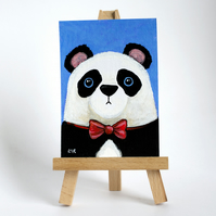 Original ACEO Art - Panda Bear wearing a Red Bow Tie - Whimsical Art
