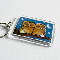 Cute Sleeping Owls Keyring (large)