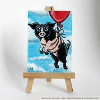 Original ACEO - Flying Pig with Red Balloon - Fun Animal Art