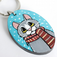 Winter Cat with Scarf - Handpainted Wooden Keyring