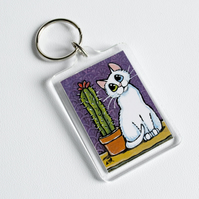 Odd Eye White Cat & Potted Cactus Keyring (large) - Whimsical Cat Art