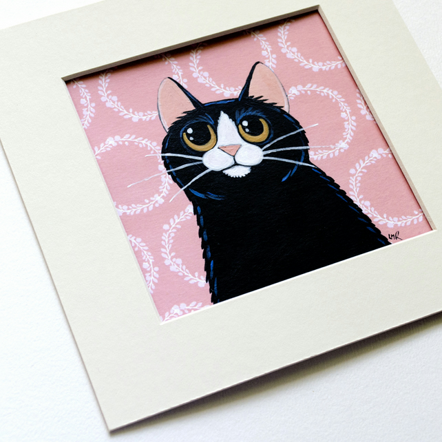 Cute Whimsical Black and White Cat Painting (4x4 inch)