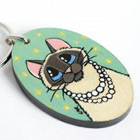 Lad Cat with Pearl Necklace - Handpainted Wooden Keyring