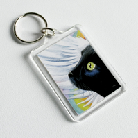 Black Angel Cat Keyring (large)