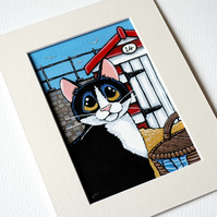 Tuxedo Cat and Beach Hut Small Format Painting (6x4 inch)