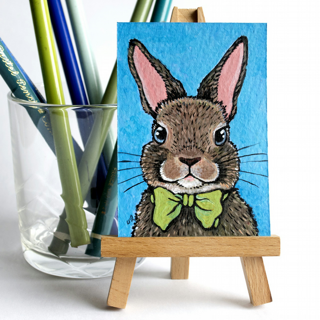 Bow Tie Bunny - Original ACEO painting