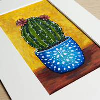Flowering Cactus in Blue Pot - 5 x 3 Inch Mini Painting