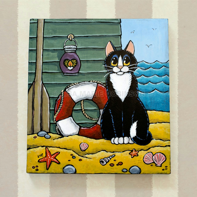 Tuxedo Cat at the Beach - Acrylic Painting on Wood